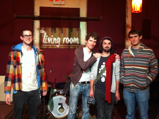 Colin, Barry, Niall and Daniel after Bouts' first gig at CMJ